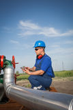 Operator in the oil and gas field Royalty Free Stock Photography