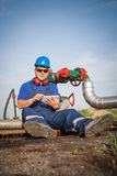 Operator in the oil and gas field Royalty Free Stock Photo