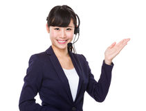Operator pointing side Royalty Free Stock Image