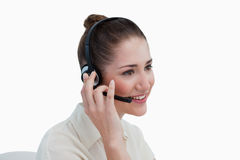 Operator posing with a headset Royalty Free Stock Photos
