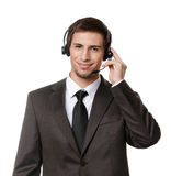 Operator puts earphones with mic Stock Images