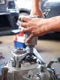 Operator repair gear box. Of automotive engine Stock Photo