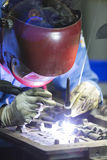 Operator repair mold by TIG welding Stock Photography