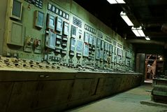 Operator room old power plant Royalty Free Stock Images