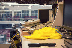 Operator room at the sports arena. Operator room at the big sports arena Stock Photography