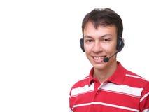 Operator salesman smiling with headphones Stock Photo