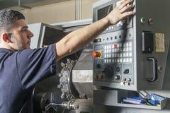 Operator Setup Cnc Turning Machine Royalty Free Stock Image