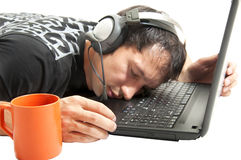 Operator sleeping on keyboard Royalty Free Stock Images
