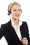 Operator smiling with headphone and microphone Stock Photos