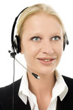 Operator smiling with headphone and microphone Royalty Free Stock Images