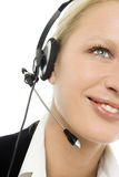 Operator smiling with headphone and microphone Stock Photo