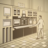 Operator standing. At the control panel retro  illustration Royalty Free Stock Photo