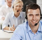 Operator talking on headset Stock Photo