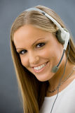 Operator talking on headset Royalty Free Stock Image