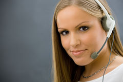 Operator talking on headset Stock Photography