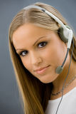 Operator talking on headset Royalty Free Stock Photos