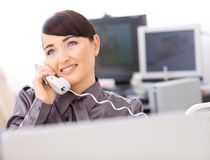 Operator talking on phone Royalty Free Stock Photos