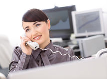 Operator talking on phone Stock Image