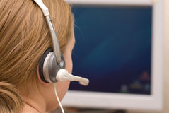 Operator talking to a customer Royalty Free Stock Photography