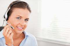An operator using a headset Royalty Free Stock Photography