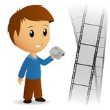 Operator video camera men with film background. Vector illustration Royalty Free Stock Image