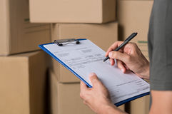 Operator in warehouse working Royalty Free Stock Photography