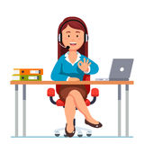 Operator woman of call center showing ok gesture Royalty Free Stock Photo