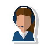 operator woman design. Operator woman icon. Call center technical service and online support theme.  design. Vector illustration Royalty Free Stock Images