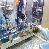 Operator work on infusion pharmaceutical industry Royalty Free Stock Photos