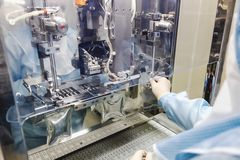 Operator work on infusion pharmaceutical industry Stock Photos