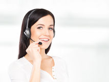 Operator working in a call center office Royalty Free Stock Photo