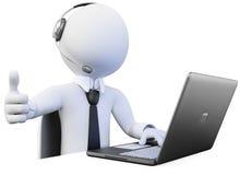operatore 3D che lavora in una call center Immagini Stock