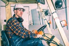 Operatore caucasico del carrello elevatore Fotografia Stock Libera da Diritti