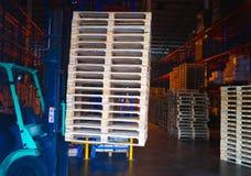 Operatore del carrello elevatore che tratta i pallet di legno in carico del magazzino per trasporto alla fabbrica del cliente immagine stock libera da diritti