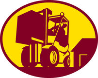 Operatore del carrello elevatore a forcale retro Fotografia Stock Libera da Diritti