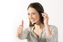Operatore del telefono che vi esamina su bianco Immagini Stock