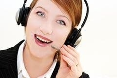 Operatore del telefono sopra bianco Fotografie Stock