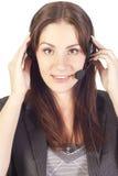 Operatore della donna con la cuffia avricolare Immagine Stock