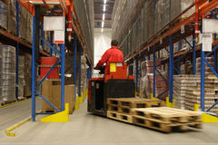 Operatore di Forkift in magazzino Immagini Stock Libere da Diritti