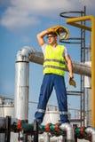 Operatore di produzione del gas e del petrolio Immagine Stock Libera da Diritti