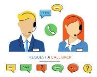 Operatore femminile e maschio di call-center Fotografia Stock
