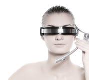 Operatore in linea di cyber futuristico Immagine Stock