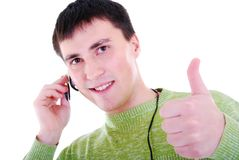 Operatore maschio di servizio di assistenza al cliente. Fotografie Stock