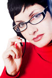 Operatore nel colore rosso fotografia stock libera da diritti