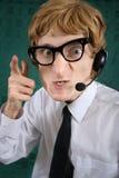 Operatore nerdy furioso del telefono Fotografia Stock