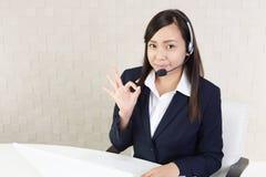 Operatore sorridente della call center fotografia stock