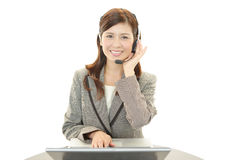 Operatore sorridente di servizi di assistenza al cliente immagine stock