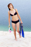 Operatore subacqueo in bikini immagine stock libera da diritti