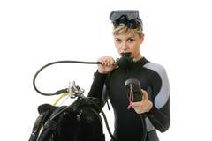 Operatore subacqueo che controlla pressione immagine stock