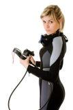 Operatore subacqueo che controlla pressione fotografia stock